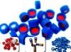 SC9291red PTFE/white Silicone septa, blue short screw-thread polypropylene cap